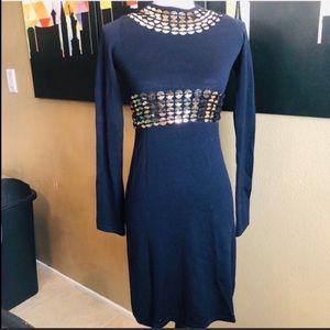 Tory Burch NWOT Navy Blue Sequin Sweater Dress XS